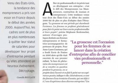 """Interview """"La grossesse : période idéale pour entreprendre ? » Courrier Cadres et Dirigeants, septembre 2016"""