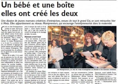 """Interview """"Un bébé et une boite, elles ont créé les deux !"""" - Le Républicain Lorrain , février 2010"""