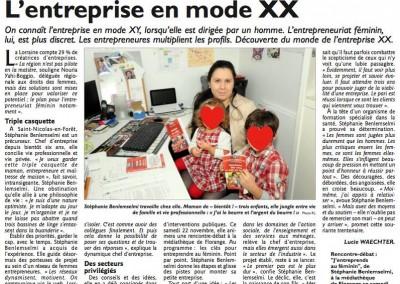 """Interview """"L'entreprise en mode XX"""" - Le Républicain Lorrain, novembre 2014"""