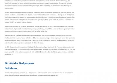 Interview sur le sujet des Mompreneurs Françaises - Magazine Ecoreseau, janvier 2015